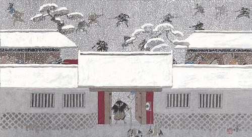安野光雅『繪本 仮名手本忠臣蔵』より〈十一段目〉「討入りの場」©空想工房 画像提供:津和野町立安野光雅美術館